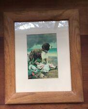 Vintage Elsley Litho Card Print Sleeping Girl St. Bernard