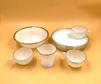 Vtg 9 Fire King 4 Lunch Snack Plates 3 Cups 1 Bowl 1 cup Milk Glass Gold Trim