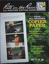 5 x *NEW* Rite in the Rain Paper Weatherproof Laser / Copier Sheets Letter Size