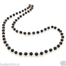 "24"" Technibond Genuine Black Onyx Chain Necklace 14K Yellow Gold Clad Silver"