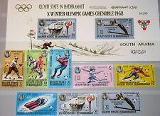 ADEN QUAITI HADHRAMAUT 1967 123-30 B Block 11 B Winter Olympics Grenoble Ski MNH