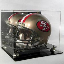 Football Helmet Display Case / Mirror Back100% UV  NFL NCAA  GOLD risers