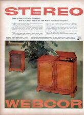 1958 Webcor PRINT AD Fonograf Phonograph Record Player