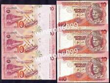 1983 1997 Malaysia Money Currency Uncut Banknotes UNC RM10 (3 in 1 matched pair)