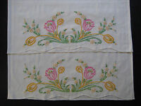 vintage pillowcase set, hand embroidery, pillow case, embroidered pillowcases 20