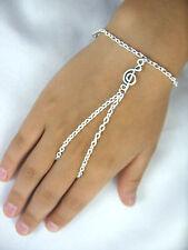 Triplicare clef charm tono argento mano Harness Bracciale & Anello ARMOUR, catena schiavo