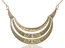 Bronze Egyptian Crescent Moon Shaped Bib Adjustable Necklace Pendant Jewelry Hot