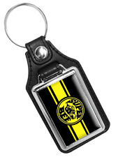 DODGE SUPER BEE BLACK YELLOW EMBLEM FAUX LEATHER KEY RING KEYCHAIN MADE IN USA