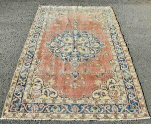 Unique Turkish Vintage Area Rug Traditional Handmade Natural Wool Carpet 4x7 ft