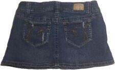 HYDRAULIC 7/8 Distressed Blue Denim Jeans Stretch Mini Skirt Womens Juniors