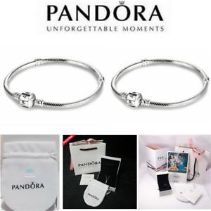 Genuine PANDORA 925 Silver Moments Snake Barrel Clasp Chain Charm Bracelet BOX