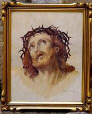 Aquarelle 1941 signature ? tête du christ aux épines religion catholique