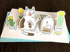 Forest Cat 3D Cards Holiday Greeting Cards Message Memo Cards Gift 1pc