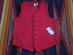 JOHNSON WOOLEN MILLS Wool Vest 6 Button 4 Pocket Red Men's Size Xlarge Tall