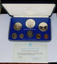 1975 Barbados Proof Set with Silver $10 & $5 coins, Case/Sleeve/COA, Franklin Mt