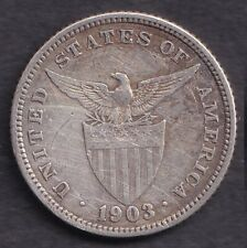 1903 US Administration Philippines 20 CENTAVOS Silver Coin - Stock #4