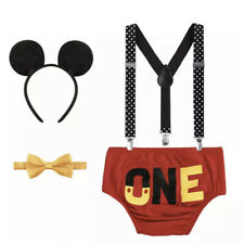 Baby Boy Mickey Mouse Red One Cake Smash 1st Birthday Costume Photo Prop Outfit