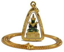 "Famous Thai Emerald Buddha Amulet + 22"" Chain 24K Gold GP Pendant Necklace GT4"