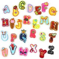 Gold Cartoon Animal Alphabet Iron On Letters Patches Heat Transfer Embroidery