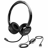 Mpow 071 USB Headset w/ 3.5mm Jack Computer Wired Headphones for PC Skype Phone