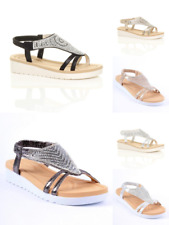 Ladies, Womens Diamante Sparkly T-Bar Platform Wedge Sandals size 3-8 QT333/2876