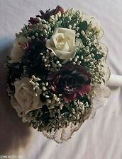 vintage hand bouquet rose wedding  bride white Champaign flower