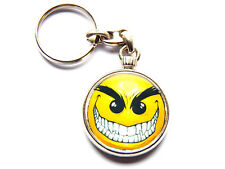 EVIL SMILE Scary Cartoon Face Quality Chrome Keyring Picture Both Sides