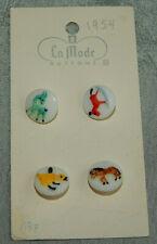 """Antique Vintge Glass Kiddie Buttons Giraffe Rocking Horse Duck ~Apx:9/16""""~#220-E"""