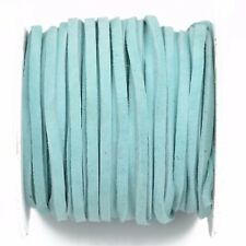 """25yd 1/8"""" Flat Suede Leather Lace, Aqua Blue, Realeather 3mm, Lth0030"""