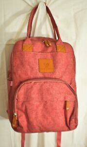 Paige & Gracie diaper backpack coral padded straps easy wipe down pockets storag