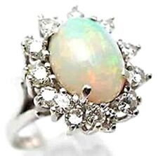 STUNNING 5.60CT G COLOR OPAL OVAL CUT DIAMOND ENGAGEMENT RING 18K WHITE GOLD!