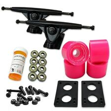 HD7 Longboard Combo set - Black trucks (Solid Pink)