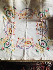 Queen Elizabeth ll Hand Embroidered Coronation Table Cloth/Chair Throw Vintage