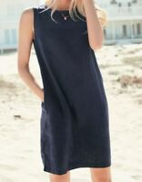 NEXT Navy Blue Linen Blend Shift Dress Size 12 Tall BNWT RRP £26 Holiday Beach