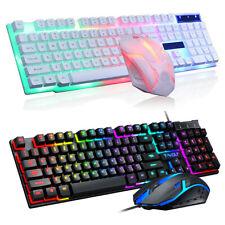 Backlit Computer Desktop Wired Gaming Keyboard + Mouse Mechanical Feel Led Light