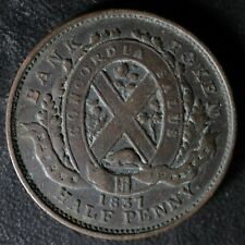 LC-8C1 Halfpenny token 1837 Un Sou Bas Lower Canada Banque du Peuple Breton 522