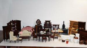BULK LOT Dolls House Furniture/Accessories Dollhouse Plastic Faux Wood & Wooden
