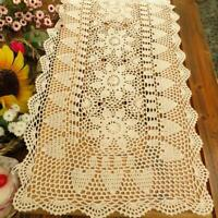 Cotton Crochet Lace Table Runner Rectangle Doilies For Dinner Table Handmade
