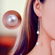 Hanging Fake Pearl Silver Plated Chain Ear Threader Stud Earring Charming HOT