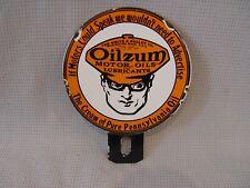 Vintage Oilzum Motor Oil 2-Piece Porcelain Advertising License Plate Topper