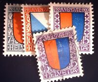 CatalinaStamps: Switzerland Stamp #B15-17MH & B17Used, Lot of 4, SCV=$41.50,A152