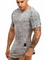 Herren T-Shirt Grau Stonewash Oversize Longshirt Shaped Slim Fit John Kayna