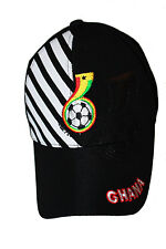 GHANA BLACK WITH WHITE STRIPES   EMBOSSED HAT CAP .. ADULTS FLEXFIT..NEW