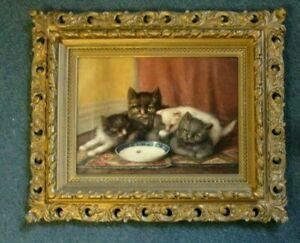 "WONDERFUL ANTIQUE KITTENS PAINTING IN ORNATE FRAME CIRCA 1903, 23"" x 19"" FRAMED"