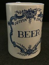 "WILLIAMSBURG REPRODUCTION Delft Mug/Stein ""BEER"" 12oz Made In Holland 5"""