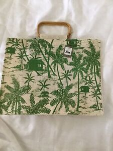 Tommy Bahama Tiki Toile Tropical Jute Tote Bag Hard To Find Bag NWT