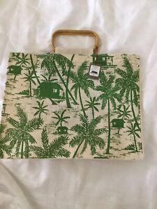 Tommy Bahama Tiki Toile Tropical Jute Tote Bag Hard To Find Bag NWT