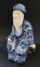 "13"" Vintage Japanese Kutani Porcelain Old Man Figurine Figure Blue & White"