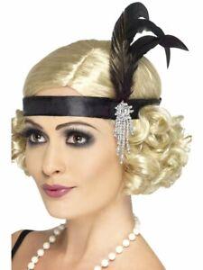 Ladies Flapper Feather Headband Charleston Headdress Gatsby 1920s Fancy Dress