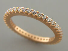NEW STERLING SILVER CZ ETERNITY WEDDING BAND RING ROSE GOLD PLATED SIZE 6 - 2mm